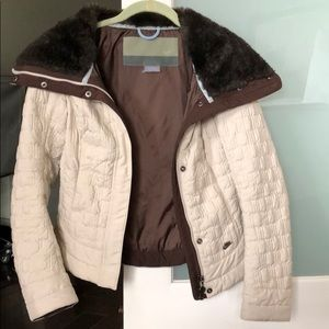 Nike Quilted Jacket Faux Fur Collar Zip Up/Snaps